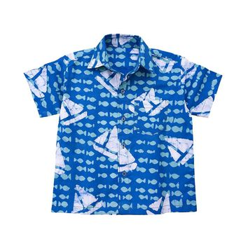Boys Button Down Shirt Sailing Blue - Global Mamas (C)