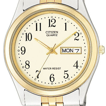 CITIZEN BF0154-98A TWO TONE STAINLESS GOLD PLATED YELLOW DIAL QUARTZ MENS WATCH