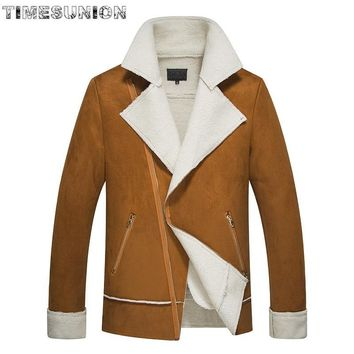 Trendy Winter Trend New Style Oblique Zip Jackets Men Warm Pure Color Patent Leather Jacket Lamb Lamb Lapel Jaqueta Masculina AT_94_13