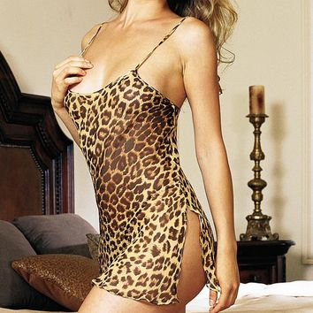 Sheer Silk Chiffon Leopard Print Chemise (Medium-Large)