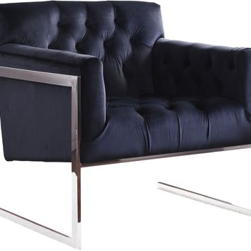 Riley Black Velvet Accent Chair