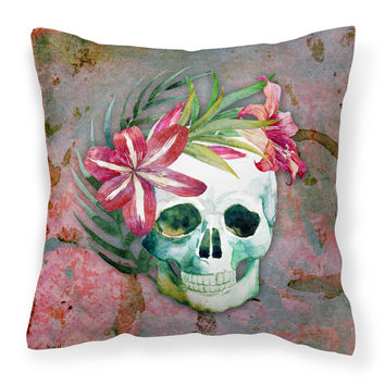 Day of the Dead Skull Flowers Fabric Decorative Pillow BB5125PW1414