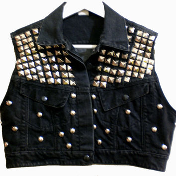 Black Denim STUDDED cropped festival vest AU 810 by hypoxicandlost
