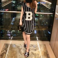 """Balmain"" Women Sport Casual Fashion Letter Multicolor Stripe Sleeveless Vest Dress"