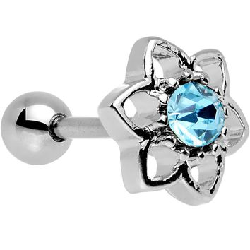 16 Gauge 7mm Aqua Gem Petaled Flower Cartilage Earring