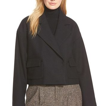 Women's Pink Tartan Herringbone Wool Blend Crop Jacket,