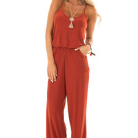 Rust Slinky Jumpsuit with Elastic Waist and Pockets
