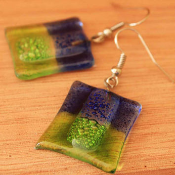 Green and Blue Glass Earrings, Blue and Green Drop Earrings, Fair Trade Fused Glass Earrings, Bubble Earrings, Dark Blue Glass Earrings 3390