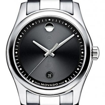 Movado Sportivo Men's Stainless Steel Black Museum Dial  Minute Track Date Display Watch 0606481