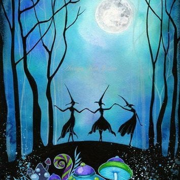 Witches Dancing Under the Moon 85 x 11 Painting Print by annya127
