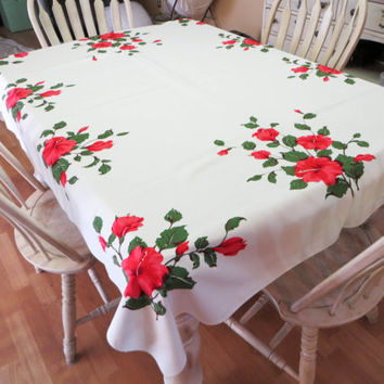 NBU California Hand Prints Red Hibiscus Tablecloth Mid Century Tablecloth Vintage Tablecloth Screen Printed Tablecloth Floral Tablecloth