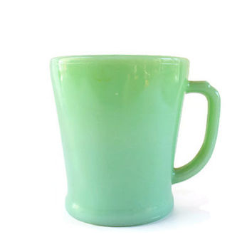 Fire King Jadeite Mug, Vintage D Handled Fire King Oven Glass,  Fire King Coffee Mug, Jadite Coffee Cup