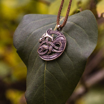 Handmade Wolf Pendant Bronze Necklace Pagan Jewelry
