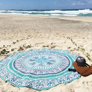150cm Diameter Indian Elephant Mandala Round Beach Towel Tapestry Hippy Boho Gypsy Polyester Tablecloth Beach Throw