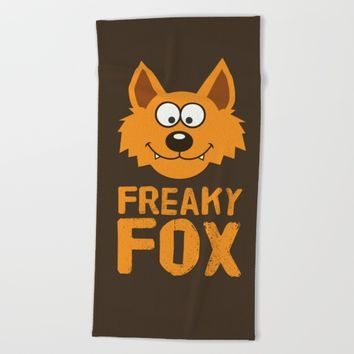 Freaky Fox Beach Towel by Badbugs_art