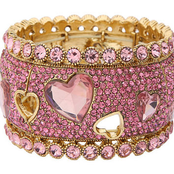 Betsey Johnson Iconic Pinkalicious Heart Wide Bangle Stretch Bracelet