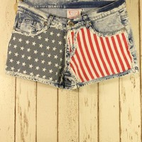 American Flag Washed Denim Shorts - Pants - Bottoms - Retro, Indie and Unique Fashion
