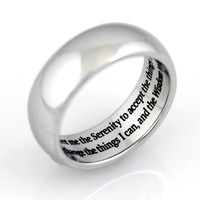Silver Plated Serenity Prayer Engravable Stainless Steel Ring 5-14