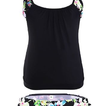 Black Layered-Style Floral Tankini with Triangular Briefs
