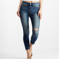 High-Waisted Dark Wash Raw Hem Cropped Jegging - Aeropostale