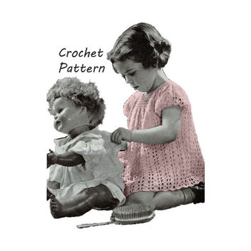 Toddler Girl's Dress Sizes 2, 4 Crochet Pattern || Vintage 1940's || Reproduction PDF Instant Download LIttle Mother 5261