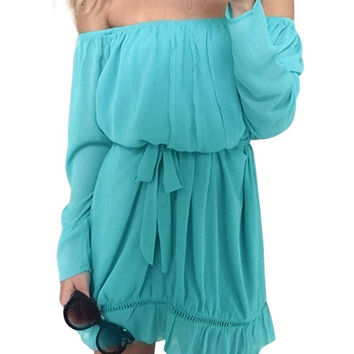 Sky Blue Off Shoulder Dress With Tie Waist