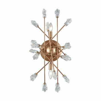 Serendipity 2 Light Sconce In Matte Gold With Clear Bubble Glass
