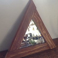 Reclaimed wood triangle mirror