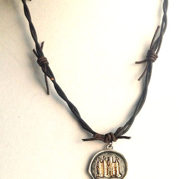 Leather Necklace, Castle Charm, Barb Wire, Renaissance, SCA, LARP, Pirate, Medieval. Christian Ministry!