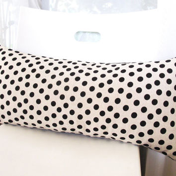 Black Polka Dot Pattern Rectangle Pillow