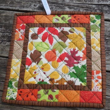 Patchwork Potholders, Fall Pot Holders, Quilted Potholders, Modern Potholders