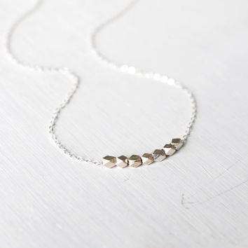 111 Lucky Seven Mini Nuggets Necklace in Pure Fine Silver - dainty minimalist jewelry by lustre