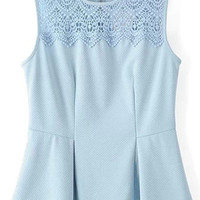 Light Blue Sleeveless Lace Detailed Pleated Top
