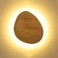 Wood LED Wall Lamps , Wood Creative Personality Bedside Lamp Aisle Wall Lights Decoration Night Light ( Size : Oval )
