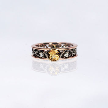 Imperial Topaz filigree engagement ring, rose gold, white gold, diamond engagement ring, bezel, yellow topaz ring, unique, topaz, two tone