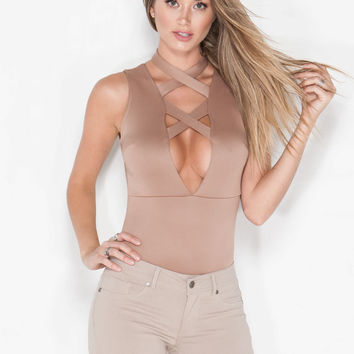 Double Cross Me Strappy Bodysuit