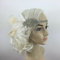 Diamante Feather 1920s Flapper Headpiece Headband Fancy Great Gatsby White