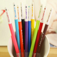 10PCS Little Cute Korean Stationery Watercolor Pen Gel Pen Set Multicolor Ink LS