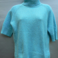 Short-Sleeve Turtleneck Sweater by Apostrophe - Silk & Angora Rabbit Hair - Super Soft - Light Sky Blue - Women's Size Large (L)