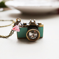 Mint Green Leather Camera Necklace. spring collection, vintage wedding, bridesmaid gift
