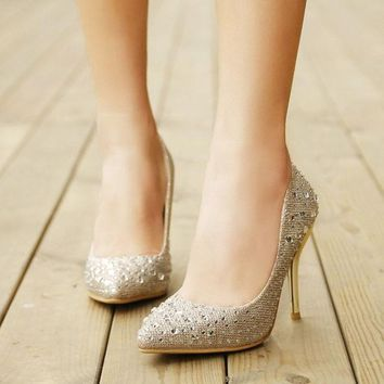 DCCKIX3 2015 Spring  high shoes sexy shallow mouth pointed toe high heel shoes crystal chaton stiletto shoes beautiful golden bride shoes