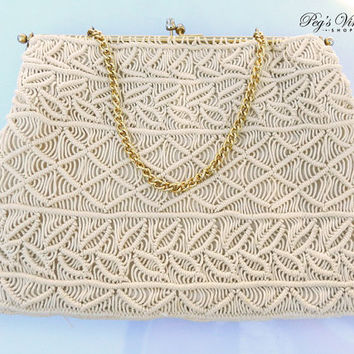 Cream Beige Macrame Handbag, Off White, Ivory Woven Clutch with Gold Tone Metal Frame, Kiss Lock Crochet Purse
