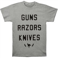 Deftones Men's  Guns Razors Knives T-shirt Heather