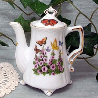 2 Cup Antique Footed Teapot USA Hand Deocorated Porcelain