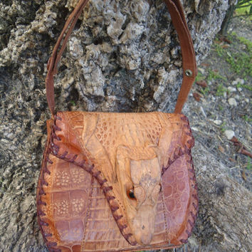 Vintage Pre Embargo Cuba 1950's Genuine Alligator Head Feet & Skin  Handbag Purse
