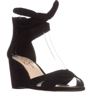 Jessica Simpson Cyrena Ankle Strap Wedge Sandals, Black, 5 US / 35 EU
