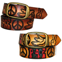 Leather Peace & Doves Belt