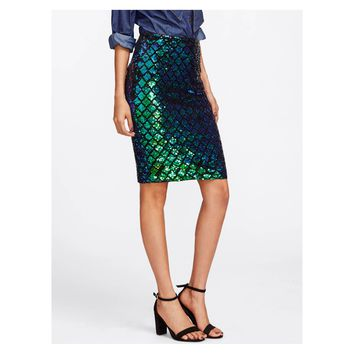 Green Black Iridescent Sequin High Waist Pencil Skirt