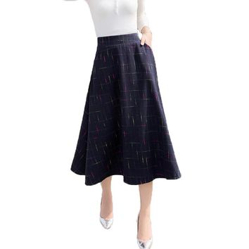 2017 Autumn Winter New A Line Plaid Skirt Faldas Mujer Women Elastic High Waist Casual Long Maxi Wool Skirt Saias Jupe Skirts