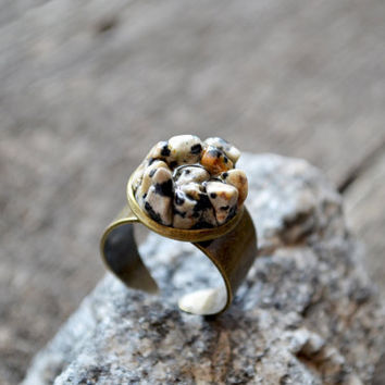 Dalmatian Jasper Statement Ring Boho Raw Stone Ring Mineral Ring OOAK Black and White Natural Rustic Jewelry Rough Cut Stone Ring